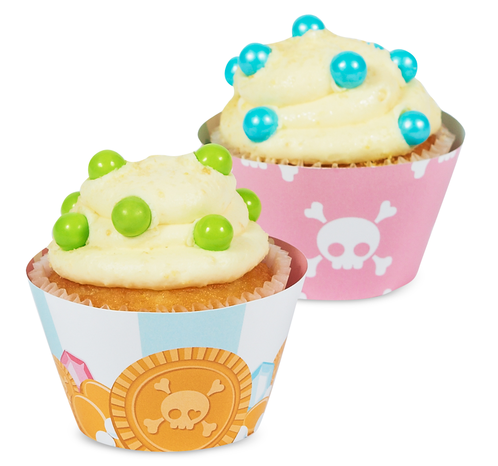 Pretty Pirates Party Reversible Cupcake Wrappers