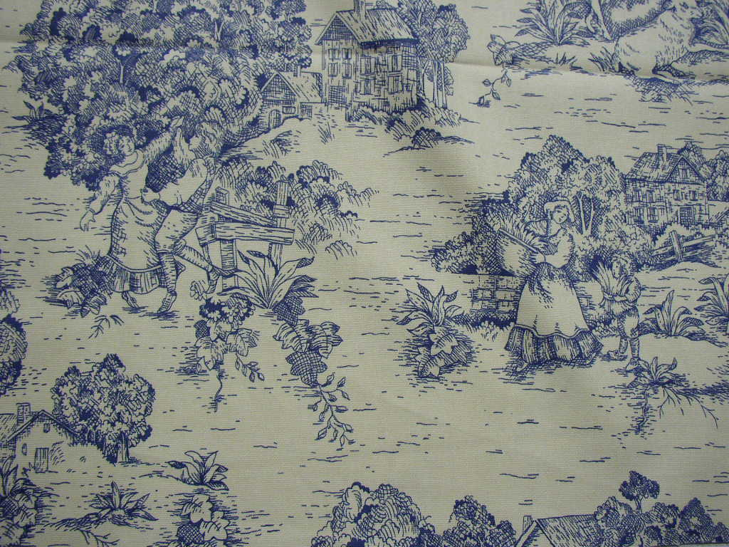 french country sofa fabric sectional sofas american freight old toile upholstery indigo