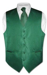 Men's Dress Vest & Neck Tie Set Emerald Green Striped | eBay