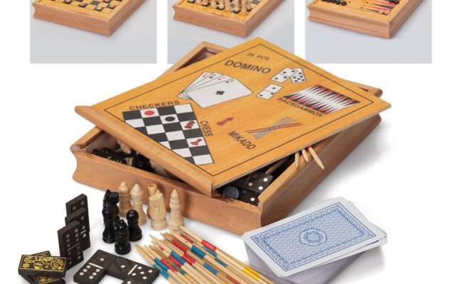 Classic Games Compendium Wooden Box Chess Draughts