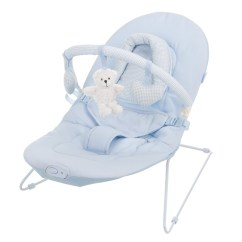 Baby Chair That Vibrates Reclining Salon Chairs Obaby B Is For Bear Vibrating Bouncer In Blue