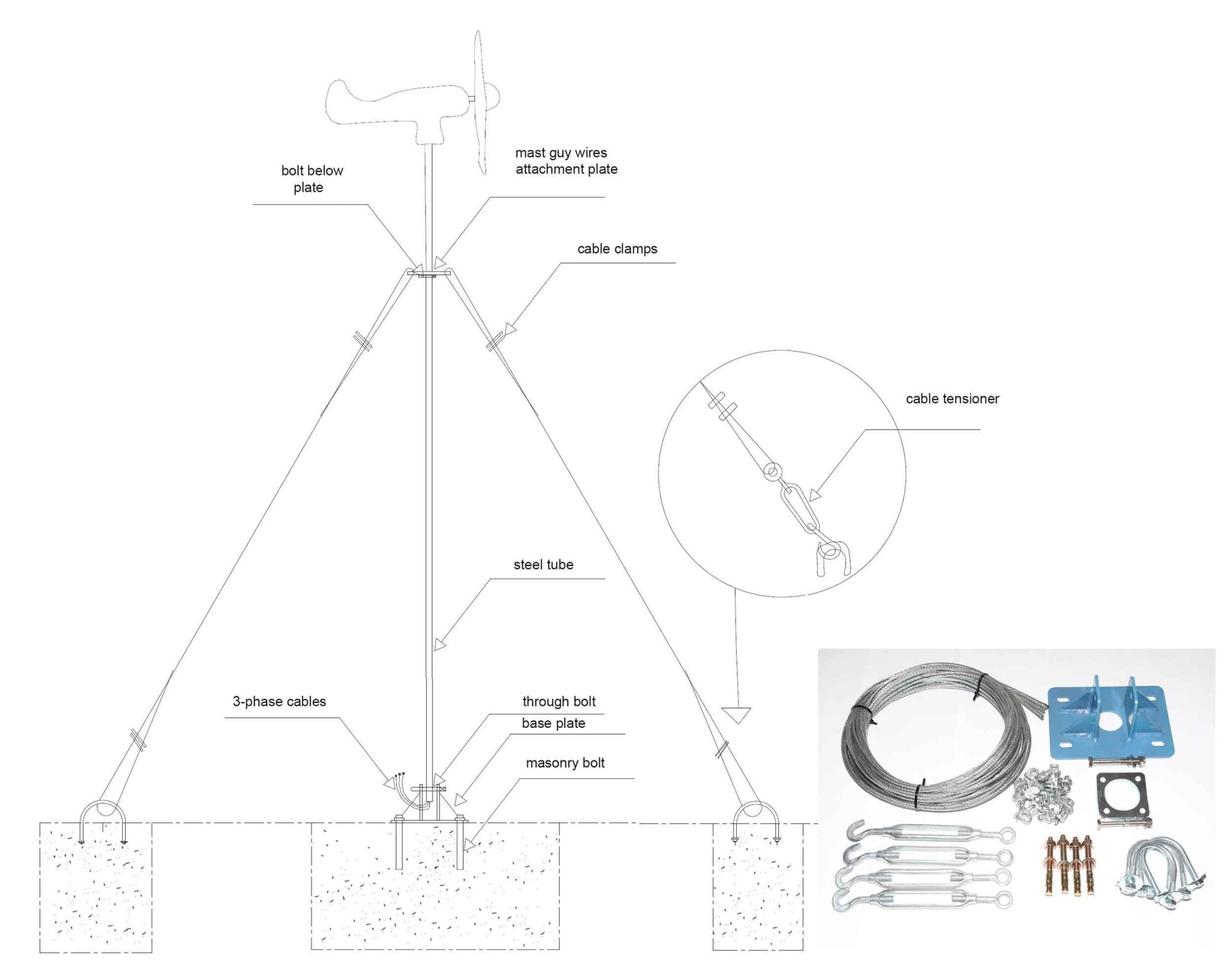 hight resolution of details about wind turbine generator mast kit pole mounting guy lines off grid power uk stock