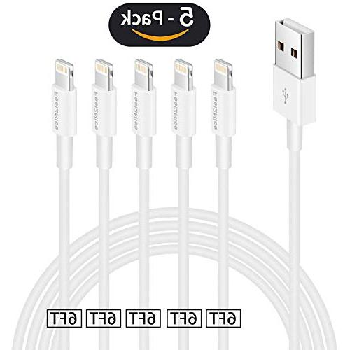 Iphone charger cable 6ft,Feel2Nice 5 Pack 6 foot