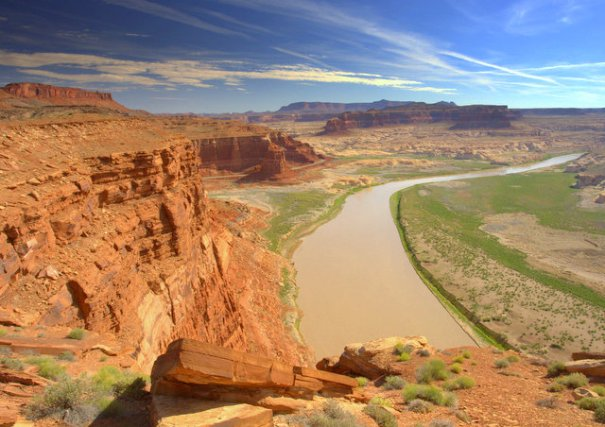 Soon after White Canyon you drop down to the Colorado River which is exceptionally beautiful. inside the Glen Canyon National Recreation Area which includes Lake Powell. As you climb out from the Colroado River you come to the Hite Overlook where these photos were taken of the River.