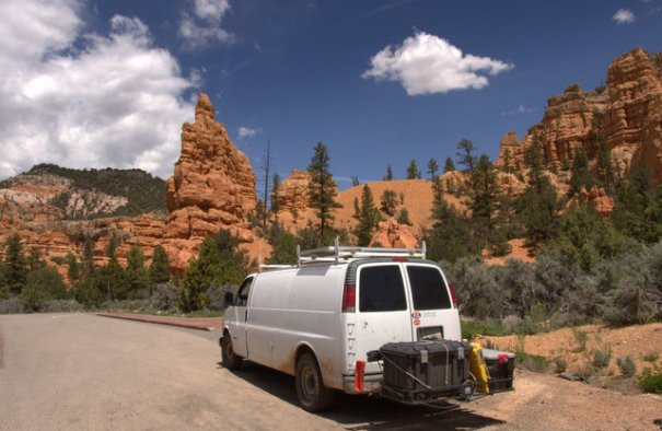 The van in Red Canyon.
