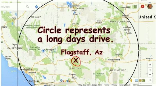 The circle in this map represents about one days drive fro Flagstaff. I hope you can join us!