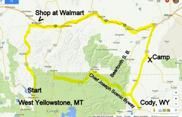 It would have been much faster to rive straight through Yellowstone NP, but I hate the traffic so I avoid it. I also needed to shop at a Walmart so going aorund made sense.