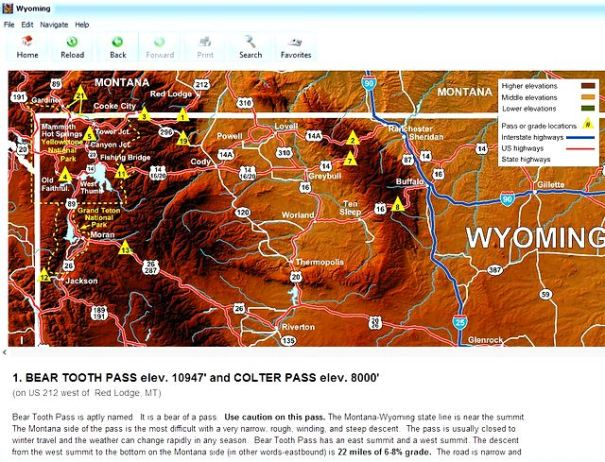 This is a page out of the Mountain Directory West e-Book. On the map you can click on the number of the pass and it will take you to the information on it. The Bear Tooth Pass is number 1, and the Oh My god Hill is number 2. If it were me I'd reverse that.