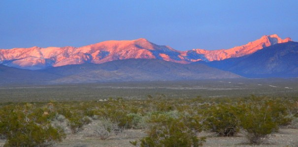 Alpine glow on Mt. Charleston above my Pahrump camp.