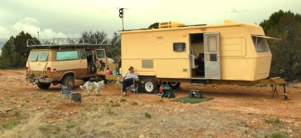 Steve and Zeke in their camp. You can see his TV antenna; he gets 24 stations with it in the middle of nowhere!