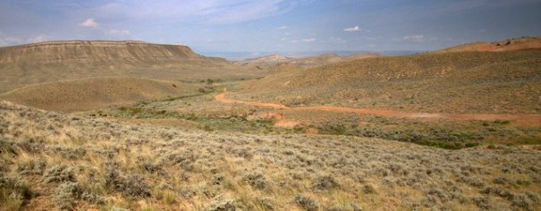 Much of Wyoming is High Plains which is sagebrush country, like you see here. But as it gets closer to the many mountain ranges it gets progressively more hilly and then mountainous. Much of it is BM land so finding a nice campsite is usually easy.