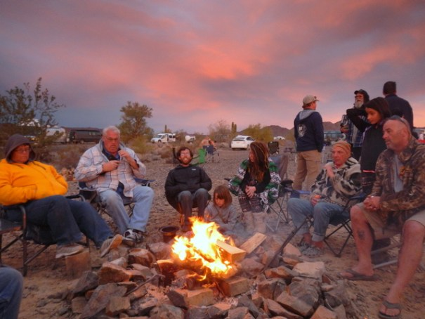 Every night people start to gather around the campfire at sunset. By dark it's a huge crowd.