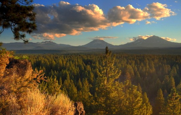 The Three Sisters Mountains near our camp at Sisters, Oregon.