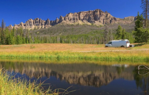 A small pond I found on the Wyoming Centennial Scenic Byway, with the Pinnacles peaks in the background.