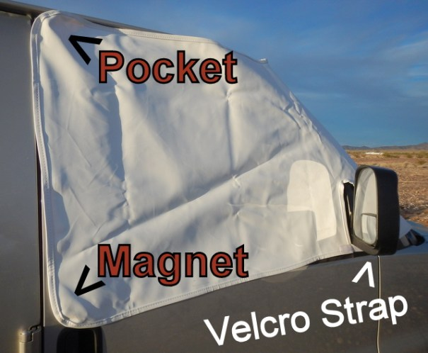 It's very easy to put on: 1) You open the door and slip the pocket over it, 2) throw the rest over the hood and 3) open the far door and put its pocket over that door 4) straighten it all up and attach the velcro straps under the mirrors. Done!