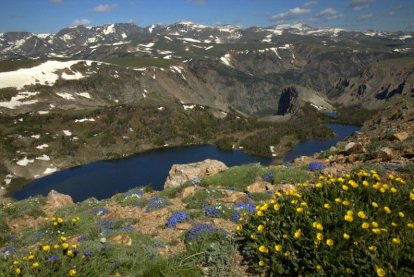 An abundance of lakes and wildflowers make for a spectacular drive.