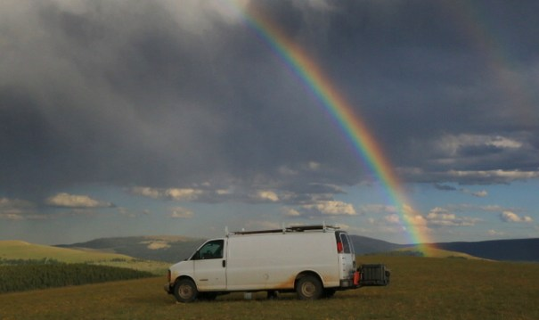 I got this great rainbow in my camp along the Medicine Wheel Scenic Byway.