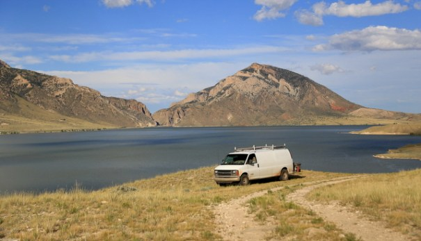 My camp above the Buffalo Bill Reservoir near Cody, Wyoming.