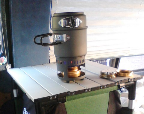 This is an Esbit multi-fuel stove kit designed for Esbit tablets (that's an Alcohol stove in it now).