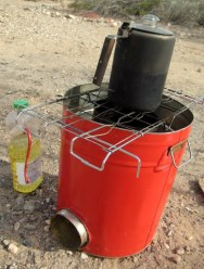 Here is a friends home-built rocket stove.