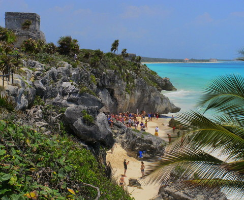 The Mayan temple at Tulum. Here you can see it is built on a cliff overlooking the Caribbean Sea.