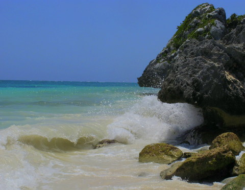 Waves breaking on the Caribbean at Tulum.
