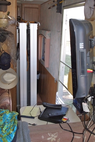 Here we see the four panels mounted inside the trailer for transport. He put cleats in the floor to hold them in place so they wouldn't slide around.