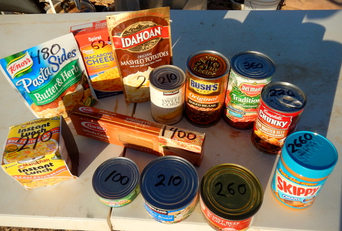 Here you can see that I've calculated the calories for each of these items. The total is about 7900 calories or a ration for about a week. The peanut butter is the superstar! at 2660 calories. It's delicious, nutritious, and requires no cooking. A store recently had the 18 ounce jar on sale for $1.66 each so I bought 4 jars and should have bought more! It does have a limited shelf life though.
