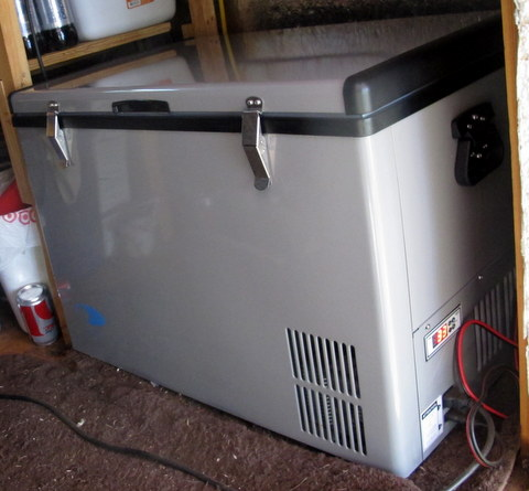 This is my new Whytner 65 quart 12 Volt Compressor fridge. You can see the exhaust vent right up front under the lid. The controls are just around the corner from it making them easy to reach.It has latches on the lid to hold it tightly closed.