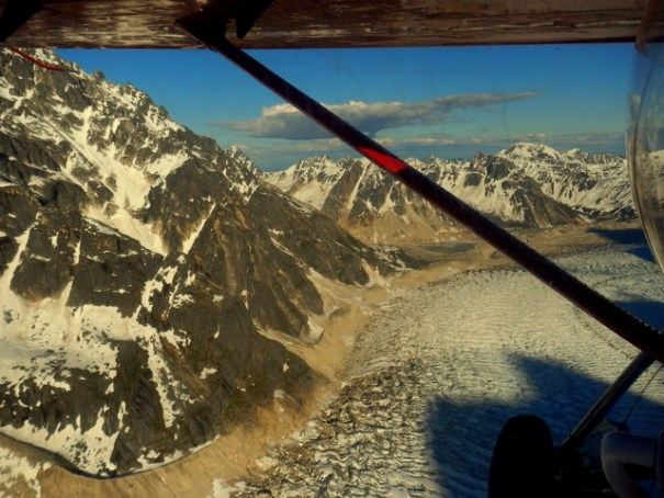 Flying home following the Ruth Glacier.