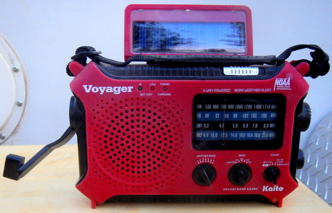 This AM/FM Short Wave Radio can be charged by its solar panel, crank or batteries. It also has a decent LED light and a USB port that can charge other items.