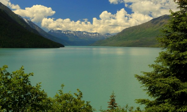 This is Kenai Lake. The blue shade is pretty typical of glacial lakes.