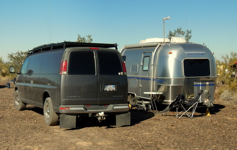 "A nice van with 600 watts of solar towing a ""Bambi"" Airstream trailer! Beautiful! Virtually a work of art!"
