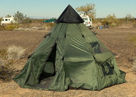 The new tepee tent I'm experimenting with. I'm hoping it can sluff off the huge desert winds and finally be a tent I can recommend for desert use.