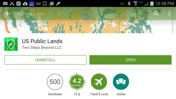 This is Chris and Cherie's outstanding Smartphone App for finding Public Land.