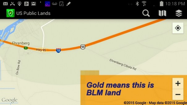 Here is the map view using Google Maps. Notice the big block of gold, it marks that land as being owned by the  BLM. I know I can camp anywhere in the gold area.