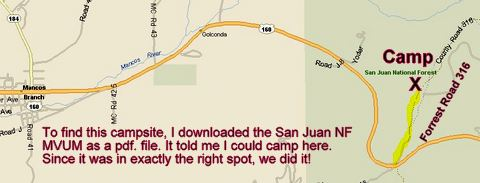 A map to our camp near Mancos, Co.