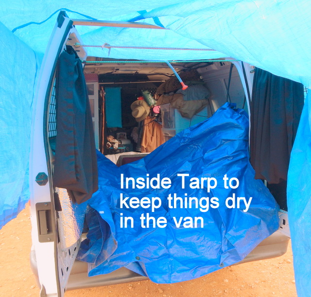 You'll need a tarp to cover the inside of the van to keep it dry from splashing.