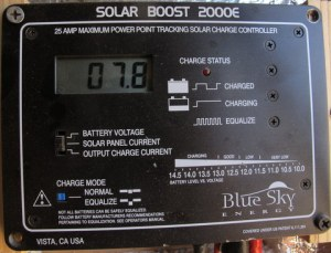 "This is my solar controller. It has a digital readout and I have it set here to show how much ""money"" (amps) is coming out of the panel. Right now it is 7.8 ""dollars."""