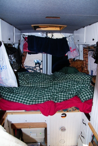 Here Is The Bed While He Single Its Large Enough For A Couple Converted Sprinter Ideal Van Two People With Abundance Of Room