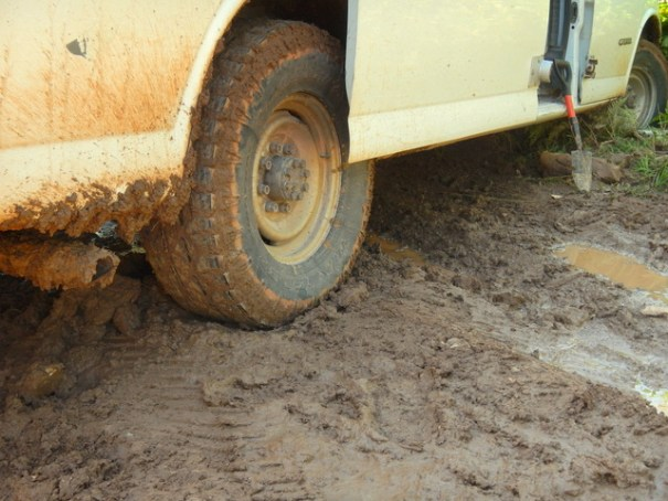 You can see just how gooey and slick the mud is--it has zero traction.