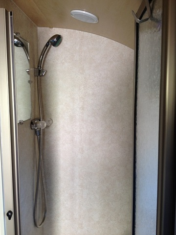 Sharon's trailer has what many people want the most, a usable, comfortable shower.