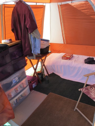 This tent (a 4-man Eureka Copper Canyon) is owned by Mike here c&ing with me now. As you can see from this picture looking in through the door ... & Cheap RV Living.com -Tent Dwelling