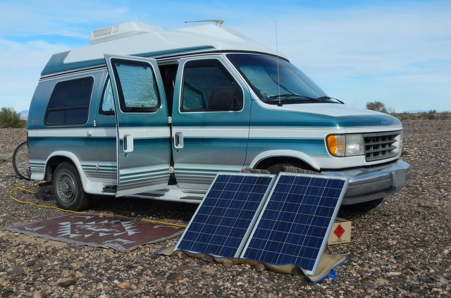 My Friend Dandeions Very Nice Conversion Van And Her Two New Renology 100 Watt Panels