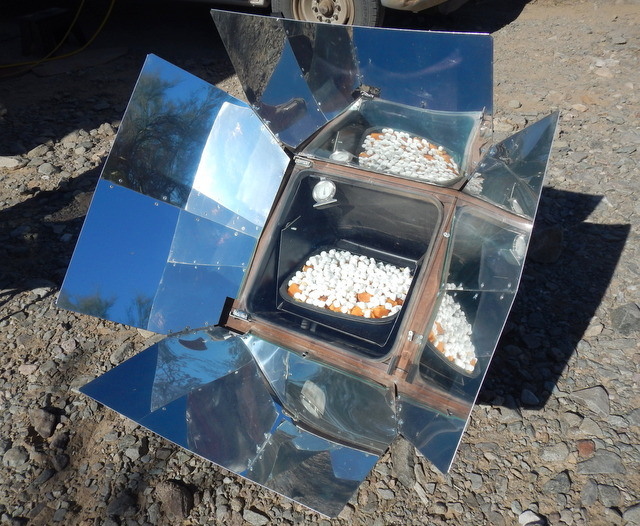 The yams in the solar oven.