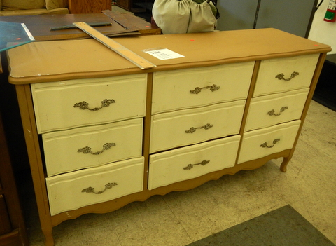 I found this nice looking dresser for $30 at a thrift store and it would work great in a van!