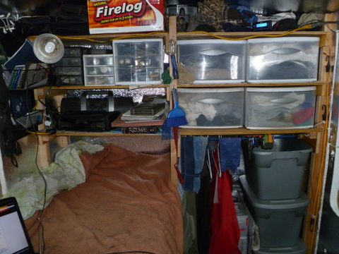 The front shelves and bed.