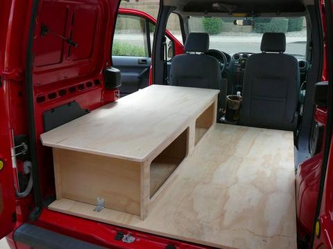 the bed installed - Ford Transit Connect Interior Camper