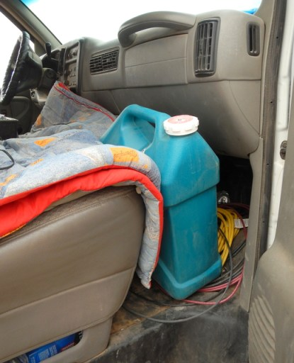 This 6 gallon bottle fits well in the front seat. Because I am usually alone that works great.
