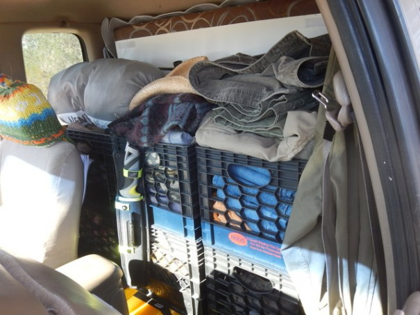 While the Tacoma is a small vehicle, the Supercab opens up a lot of room for storage. As you can see, Will has made excellent use of it all!